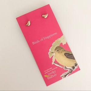 Lucky Feather Tiny Bird Stud Earrings